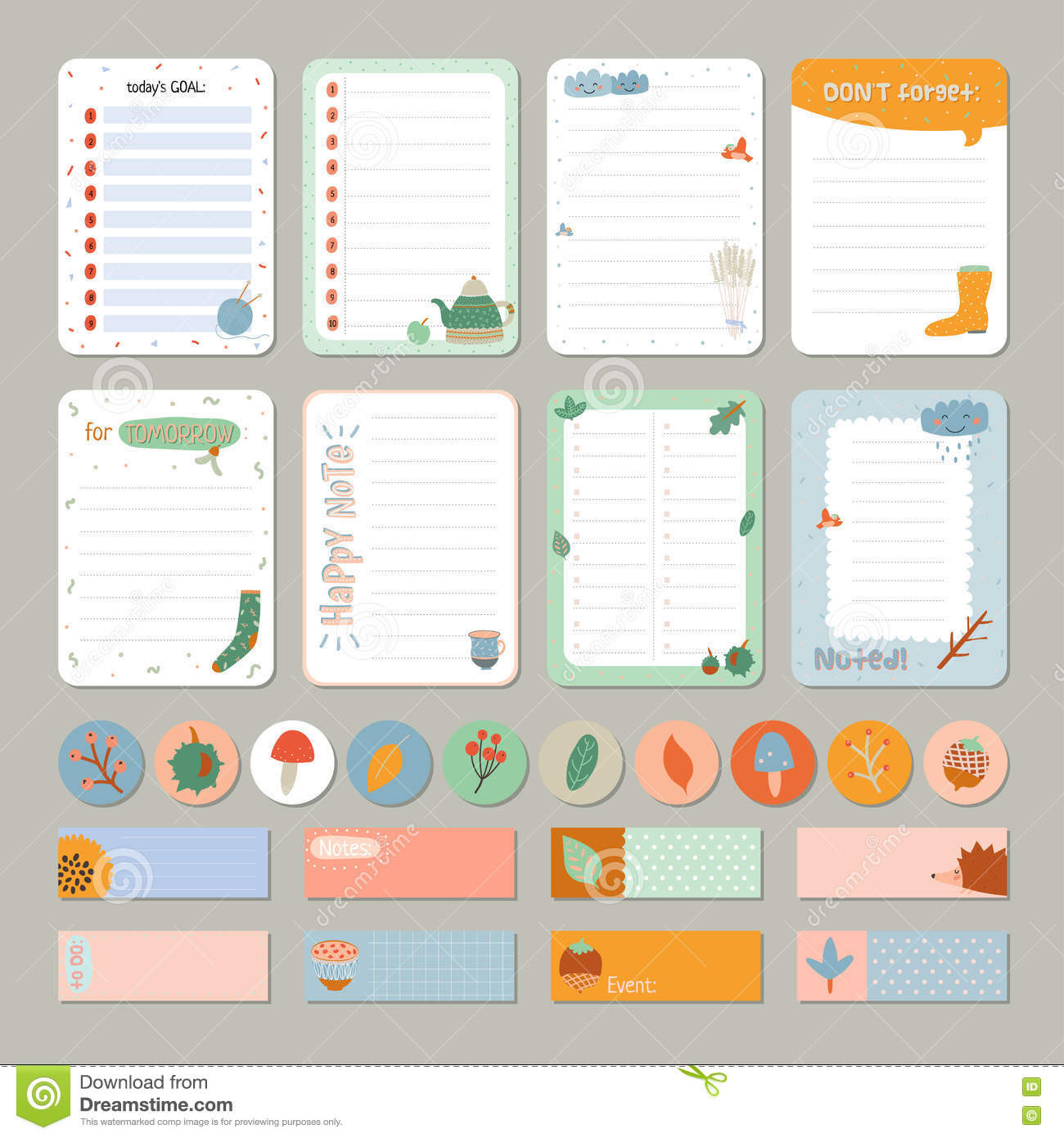 Cute Daily Calendar And To Do List Template Stock Photo - Image ...