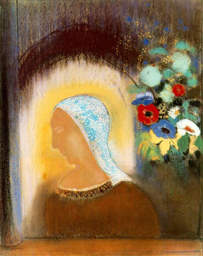 Profile and Flowers, 1912, Odilon Redon, Pastel on paper, 70 x 55 cm