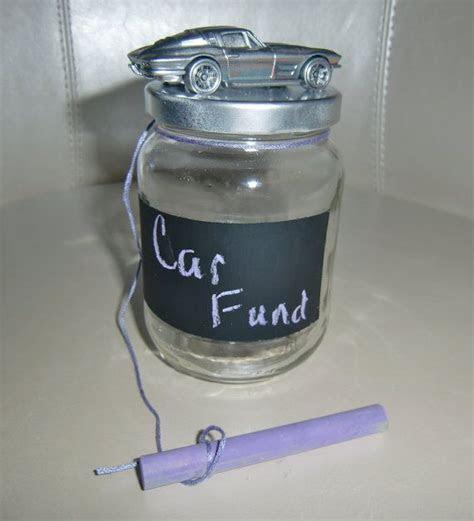 "Chalkboard Glass Car Fund Jar or ""Piggy"" Bank in Silver"