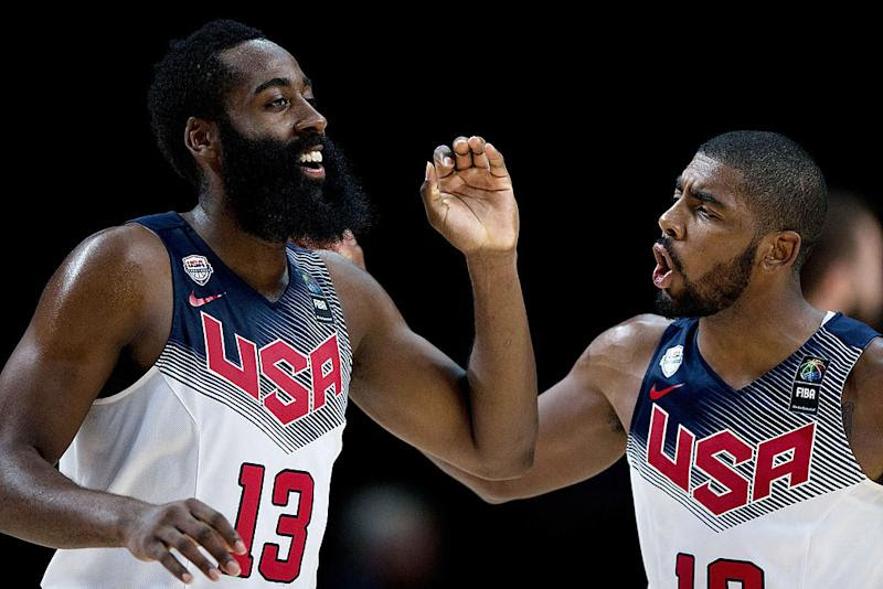 James Harden and Kyrie Irving starred during the 2014 FIBA World Cup, and could again in Tokyo. (Gonzalo Arroyo Moreno/Getty Images)