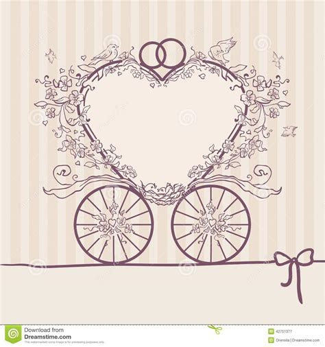 Wedding Invitation Coach. Design Template Stock Vector