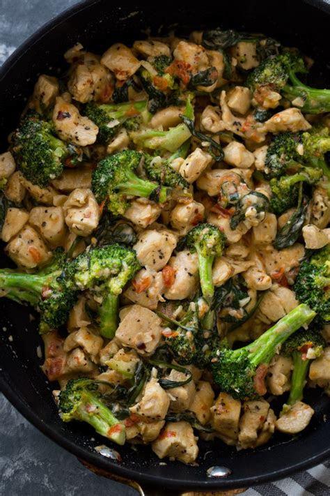 minute keto garlic chicken  broccoli  spinach
