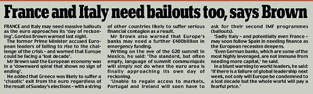 França e Itália precisam salvamentos também