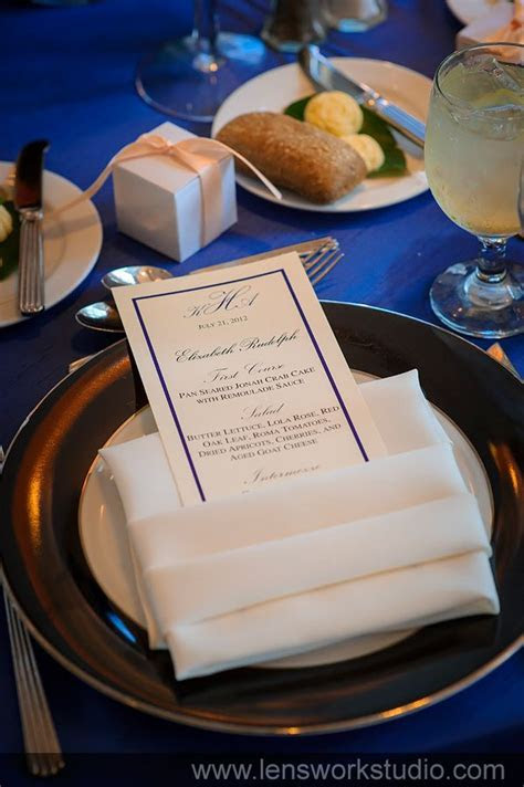 Personalized menus incorporating colors and napkin fold