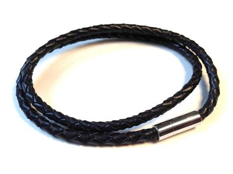 black weave double looped leather bracelet  cudworth