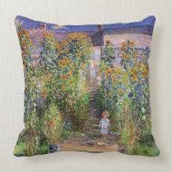 The Artist's Garden by Claude Monet throwpillow