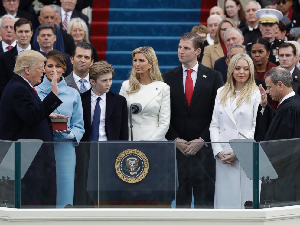 PHOTO: Donald Trump is sworn in as the 45th president of the United States by Chief Justice John Roberts as Melania Trump and his family looks on during the 58th Presidential Inauguration at the U.S. Capitol in Washington, Jan. 20, 2017.