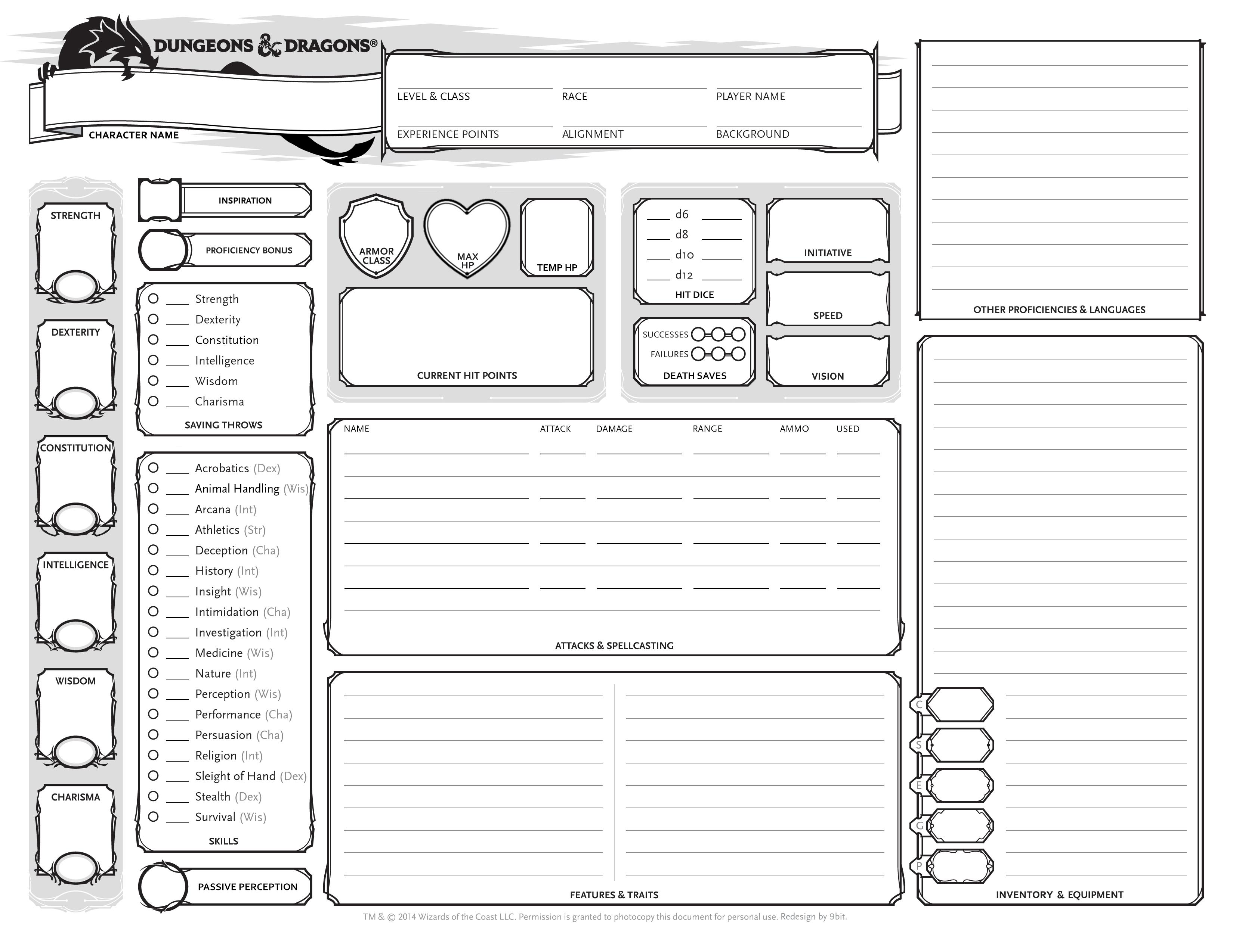 D&D Character Sheet: Update | The Blog of 9bit