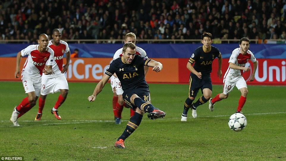 Harry Kane brings Tottenham level despite the best efforts of Monaco shot-stopper Danijel Subasic in goal