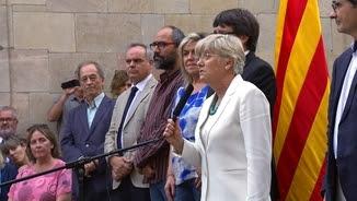 Clara Ponsatí, aquest dijous al Palau de la Generalitat, durant el lliurament de les claus de les direccions dels centres