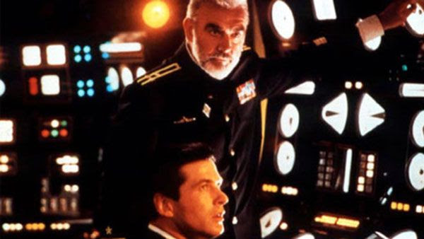 Sean Connery and Alec Baldwin in the 1990 submarine thriller, THE HUNT FOR RED OCTOBER.