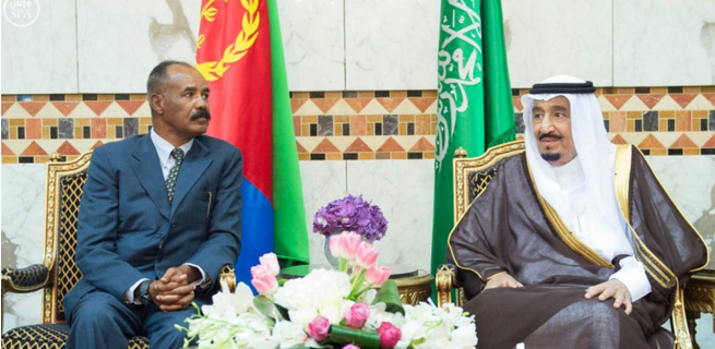 Saudi Arabia's King Salman hosted Eritrea's President saias Afwerki on April 28, 2015 (credit: Saudi Press Agency)