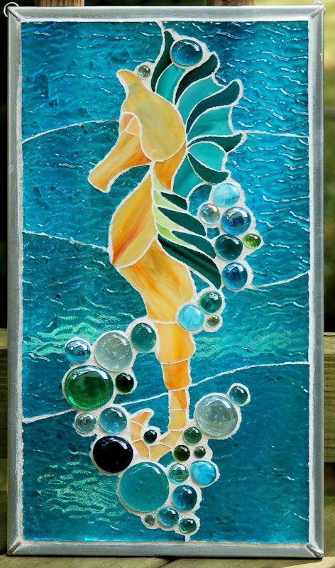 image seahorse mosaic glass
