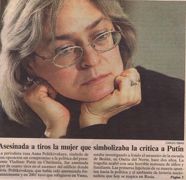 Recorte del asesinato de Anna Politkóvskaya