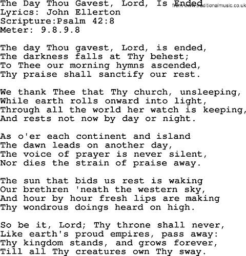 Hymn The Day Thou Gavest Lord Is Ended Lyrics