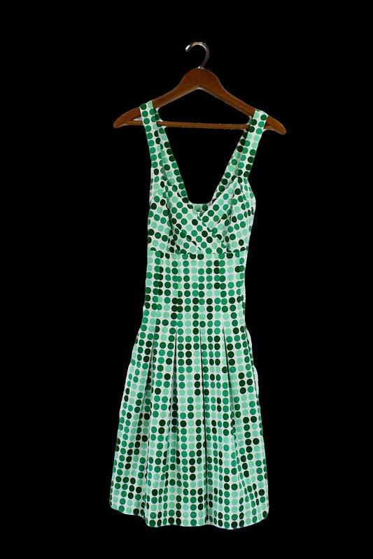 Calvin Klein green polka dot print dress