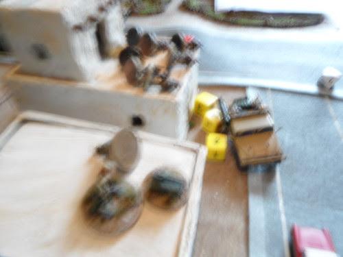 Cargo Humvee careens around corner