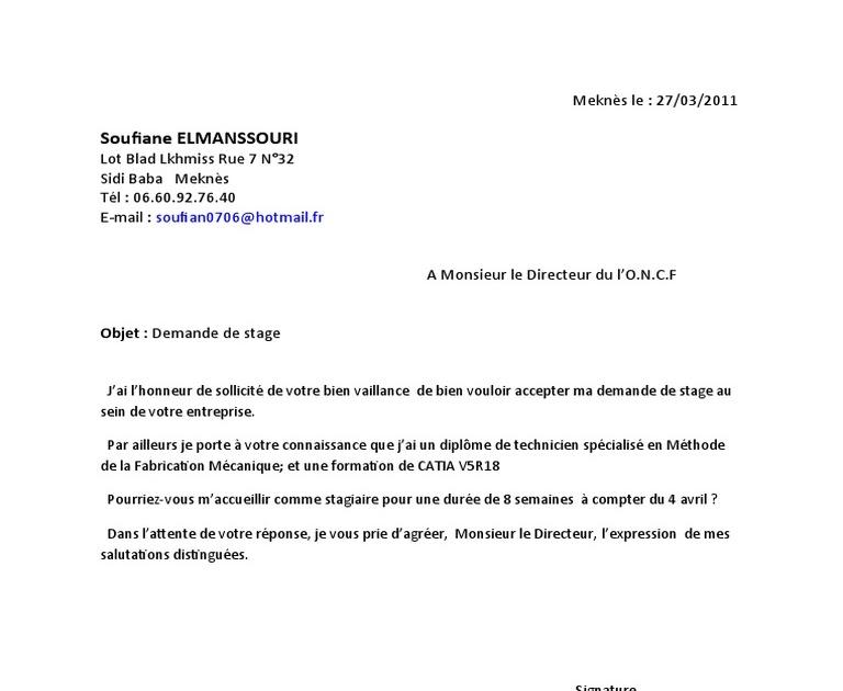 Exemple De Lettre De Demande De Stage Professionnel Pdf ...