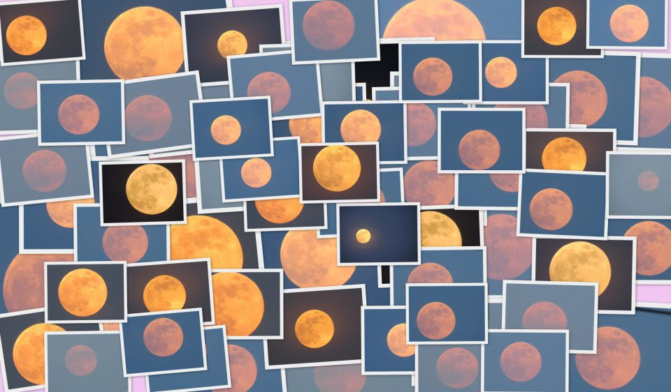 View larger. | Hunter's Moon collage from EarthSky Facebook friend Kausor Khan in Hyberabad, India.  Click here to expand this image