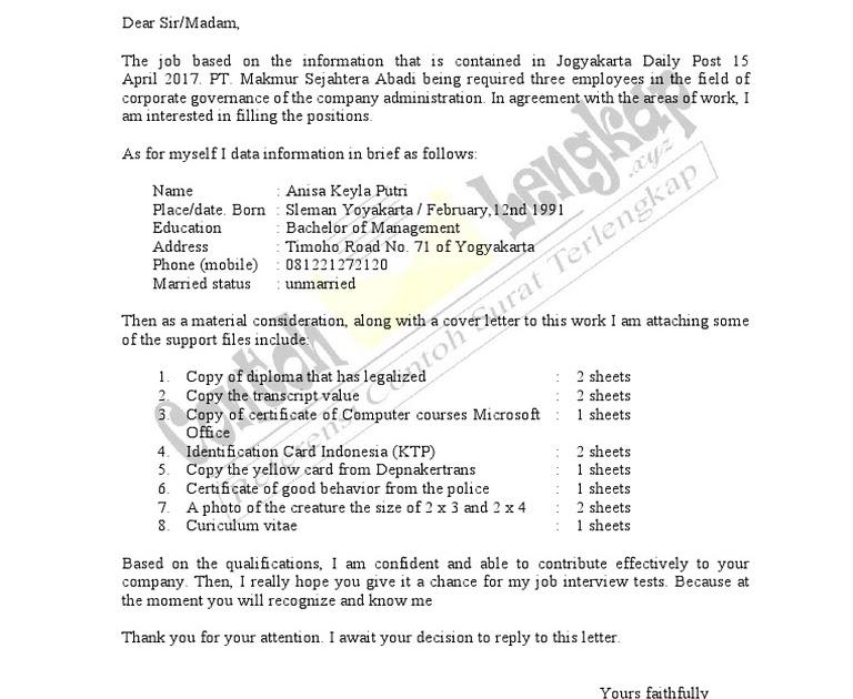 Contoh Surat Lamaran Kerja Pabrik Taekwang Contoh Surat