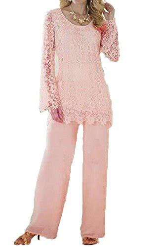 Dislax Two Piece Lace Mother of Bride Pants Suit pink US