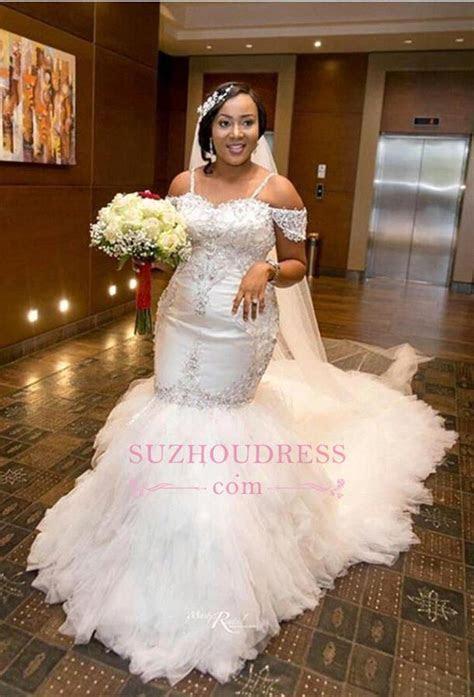 Mermaid Appliques Plus Size Bride Dress 2018 Gorgeous Lace