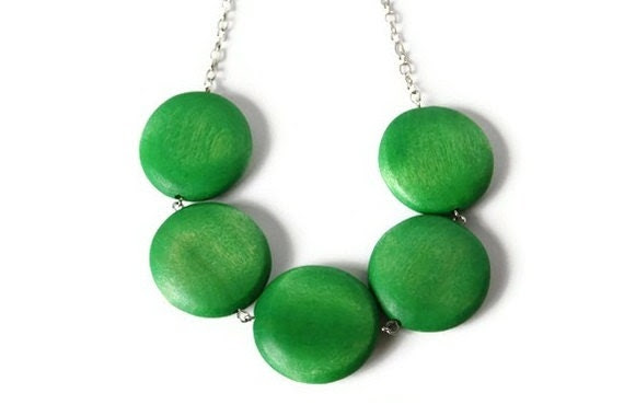 Lime Green  Necklace, Chunky Wood Beaded Necklace with Geometric Big Round Green Wood Beads