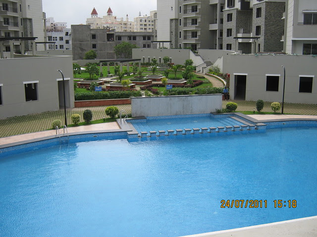 "Swimming Pool & Landscaped Garden at Sobha Carnation - on the day of launch of ""Sobha Garnet - 3 BHK & 4 BHK Flats"" - off NIBM Road -  at Kondhwa - Pune"