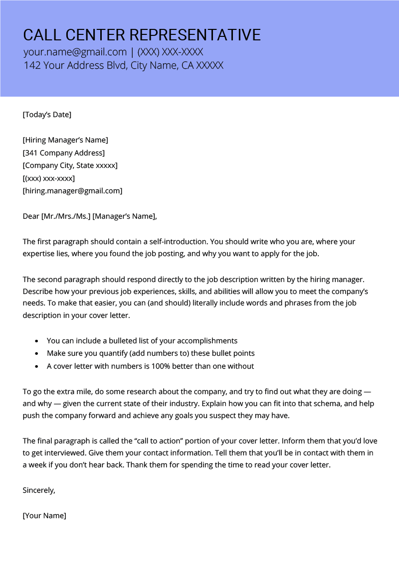 Call Center Representative Cover Letter Resume Genius