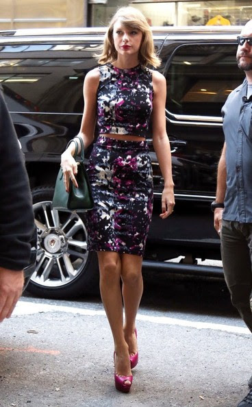 "Taylor Swift is seen stepping out in New York City, New York on September 15, 2014. Taylor recently invited the fraternity Delta Sigma Phi Beta Mu from Kentucky's Transylvania University to her tour next year, after an adorable lip-dub video they made to her hit ""Shake It Off"" went viral."