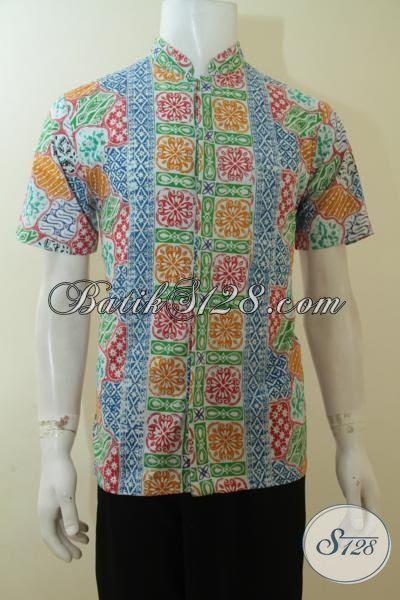 Baju Batik Model Hem Lengan Pendek Motif Modern Khas Anak