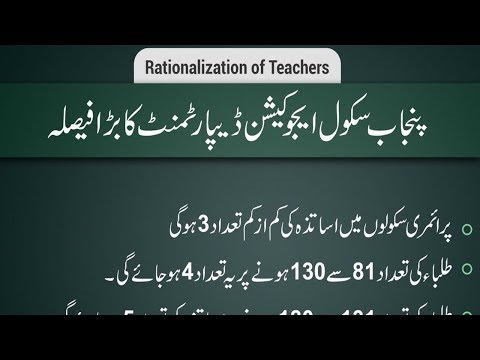 Punjab Teachers Rationalization 2019 School Education Department Lahore