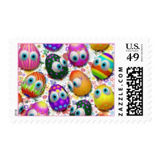 Cute Easter Eggs Cartoon postage stamps