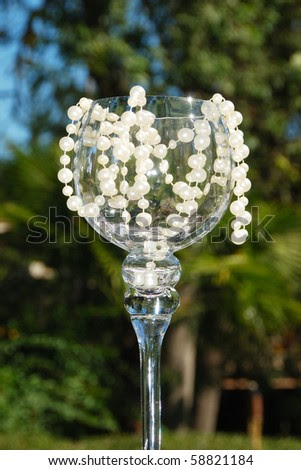 stock photo Glass decorations at a wedding