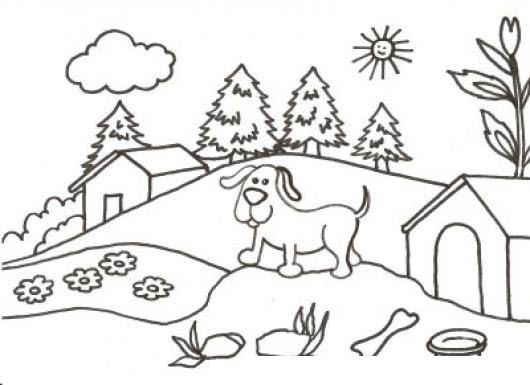 Dibujo De Perrito Granjero Para Pintar Y Colorear Perro En Una