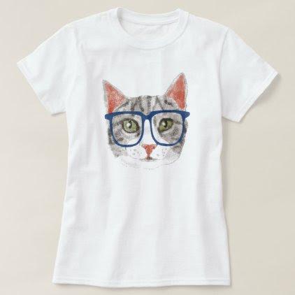 Hipster Cat (Grey Tabby) T-Shirt