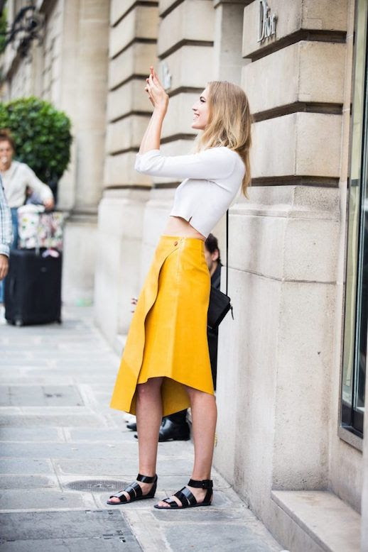 Le Fashion Blog White Long Sleeved Crop Top Yellow Midi Skirt Sandals Street Style Via Sandra Semburg