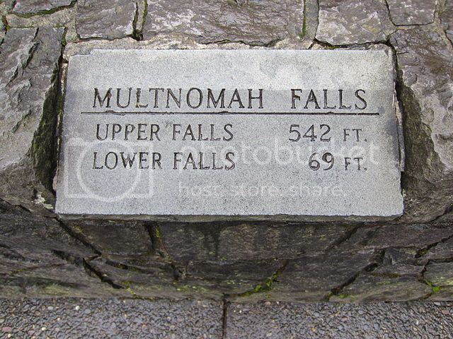 Heights of Multnomah Falls. The Sign