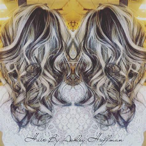 platinum blonde highlights  dark chocolate brown