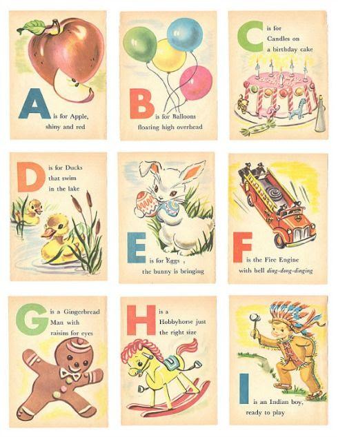 Free Vintage Alphabet Printables   Vintage Alphabet Flash Cards ...