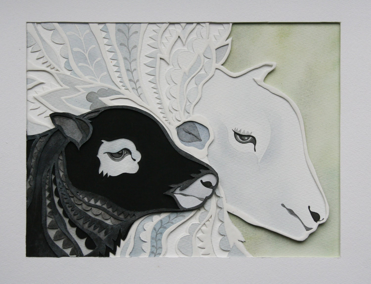 "Paper Cut Wall Fine Art Piece of ""Hogg & Ewe"" Sheep/ Made to Order"