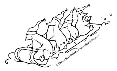 Dulemba coloring page tuesday sledding penguins for Sled coloring page