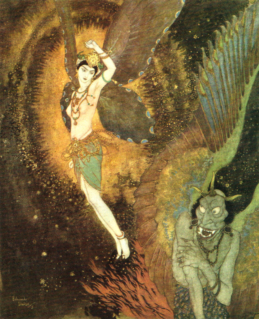 """Edmund Dulac - 'As she rose up through clouds there passed one she knew by his tail to be Dahnash.' illustration to the story """"Dahnash and Meymooneh"""" from Princess Badoura (1913)"""