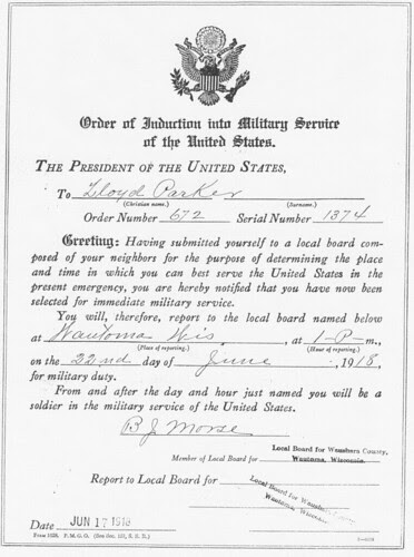 Lloyd Parker WWI Induction Order