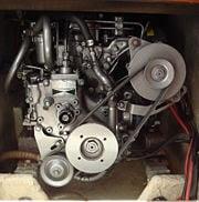 Belts on a Yanmar 2GM20 marine diesel engine.