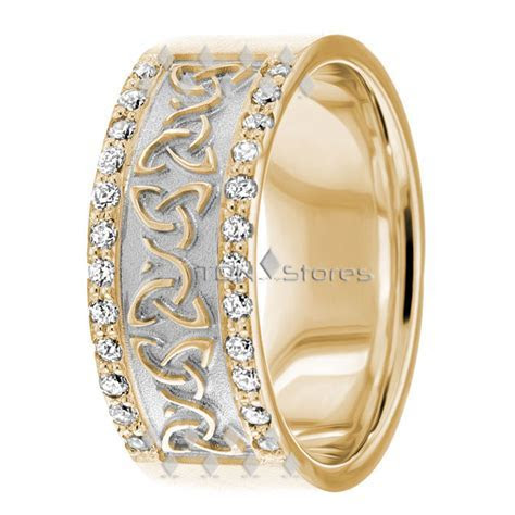 14K GOLD DIAMOND CELTIC WEDDING BANDS RING TRINITY KNOT