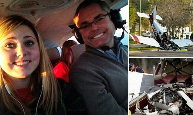 An Illinois father is dead, his teen daughter and her friend are injured after a plane he was piloting nose-dived into a residential neighborhood Saturday in Florida. Jeffrey Bronken (top right), 53, died, but daughter Katherine Bronken and Keyana Linbo (pictured together at bottom right), both 15, survived the early morning crash in suburban Tampa.