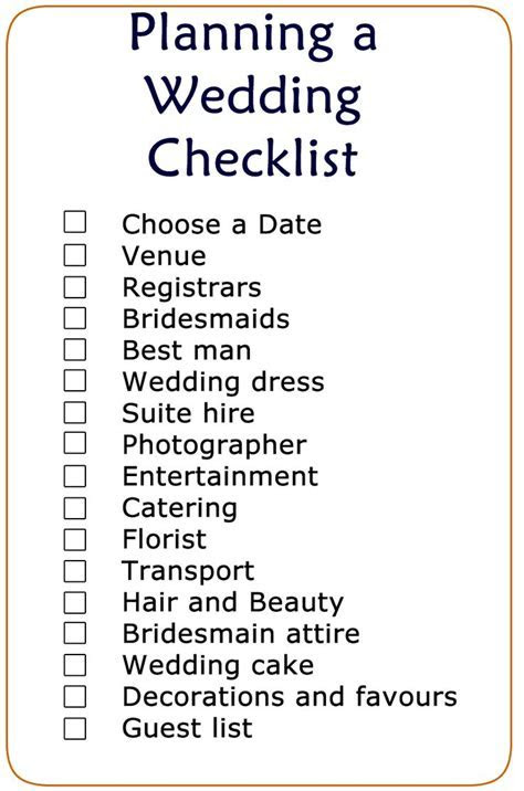 Basic Wedding Checklist Printable   Wedding Checklist