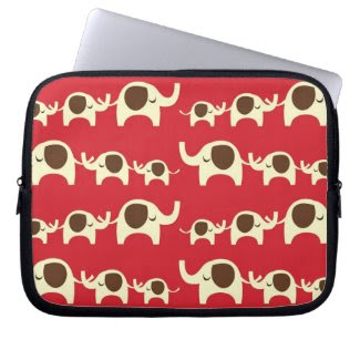 Good luck elephants cherry red cute nature pattern laptop computer sleeves