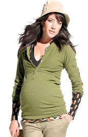 Noppies Maternity Henley Sweater in Green